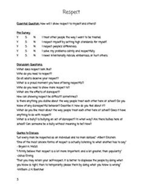 Respect And Responsibility Worksheets by Character Education Class Meeting Guide Entire