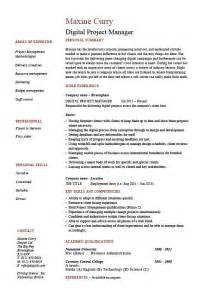 project digital templates digital project manager resume exle sle
