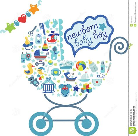 newborn baby boy icons in form of carriage stock vector