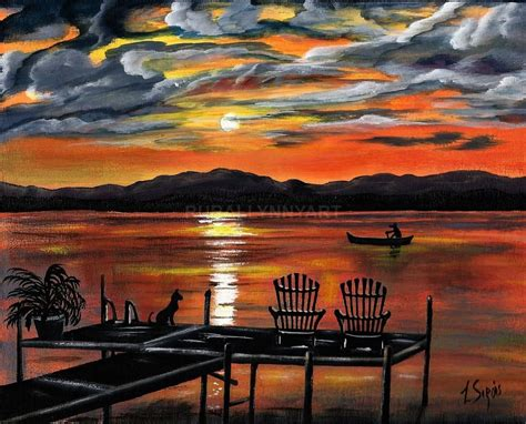 boat dock chairs summer lake sunset boat dock adirondack chairs dog