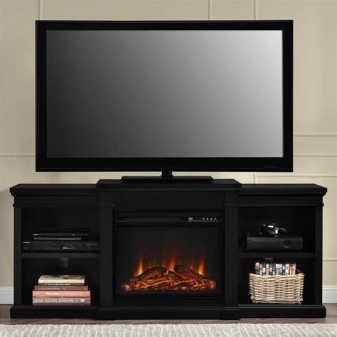 pemberly row 66 quot tv stand with side shelves in black pr