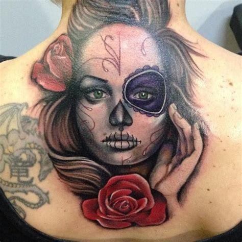 neck tattoo mexican flower mexican skull back neck tattoo by underworld tattoo