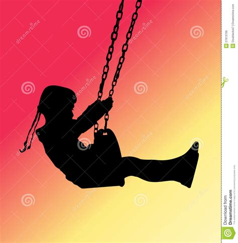 girl on swing silhouette girl on a swing silhouette royalty free stock images