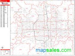 Wichita Zip Code Map by Wichita Kansas Zip Code Wall Map Red Line Style By