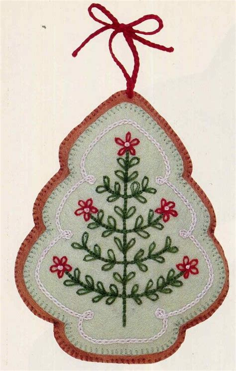 pattern felt christmas ornaments vintage frosted gingerbread embroidered felt cookie