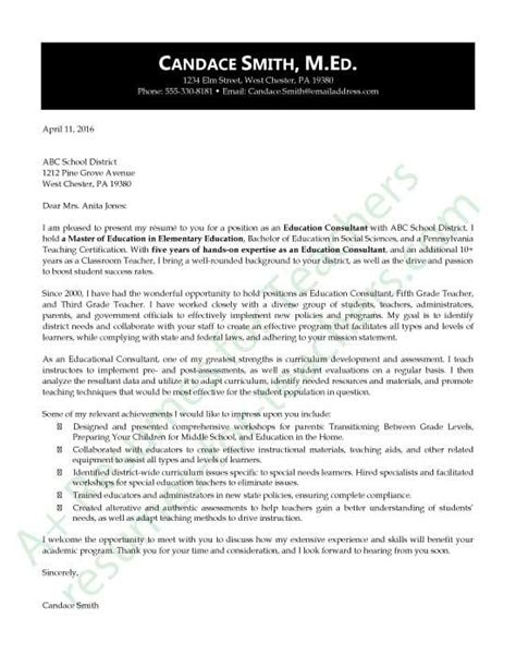 cover letter for education consultant education consultant application letter sle education