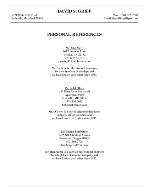 search results for professional references template