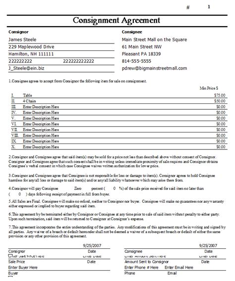 free consignment agreement template doc 581759 consignment contract template contract