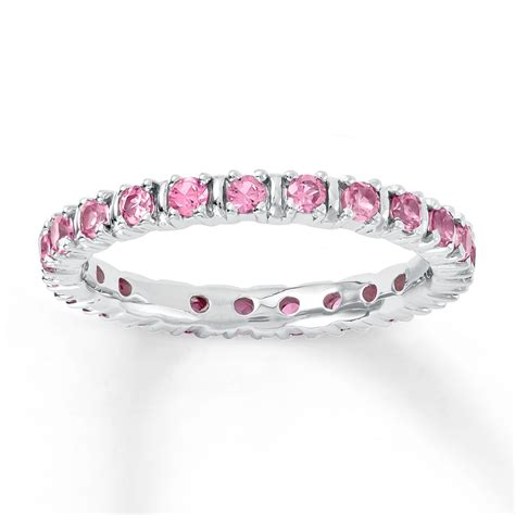 stackable ring lab created pink sapphire sterling silver
