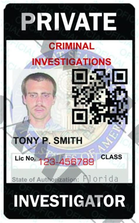 custom private investigator id card template pi5321a