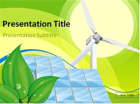 solar panel powerpoint template wind turbine and solar panels with nature in the