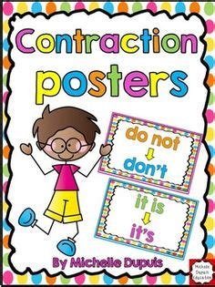 printable contraction poster printables words and colors on pinterest