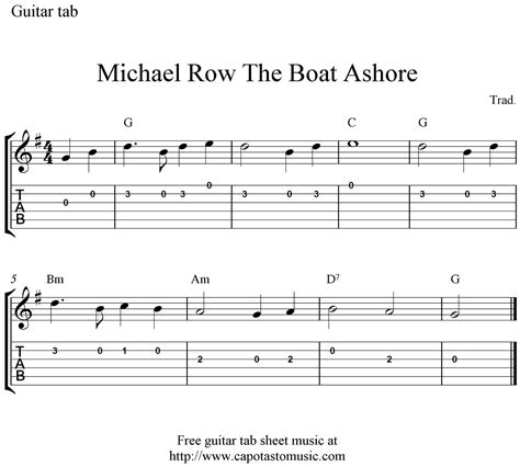 chords for michael row the boat ashore free guitar tab sheet music michael row the boat ashore