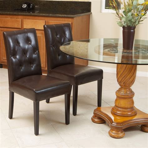 set of 2 brown leather dining room chairs with