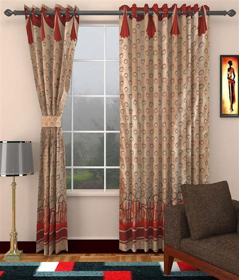 red beige curtains sajaawat beige red polyester door curtains set of 2
