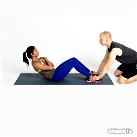 sit ups on bench partner sit ups exercise how to workout trainer by skimble