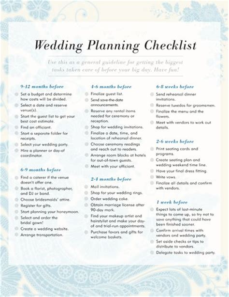 Wedding Checklist Free Printable by Wedding Planning Checklist Free Printable Checklists