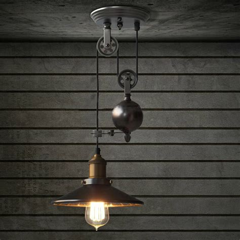 Retro Hanging Light Fixtures E27 Industrial Retro Pulley Pendant Light Restaurant Bar Ceiling Hanging L Fixture Ac110 240v