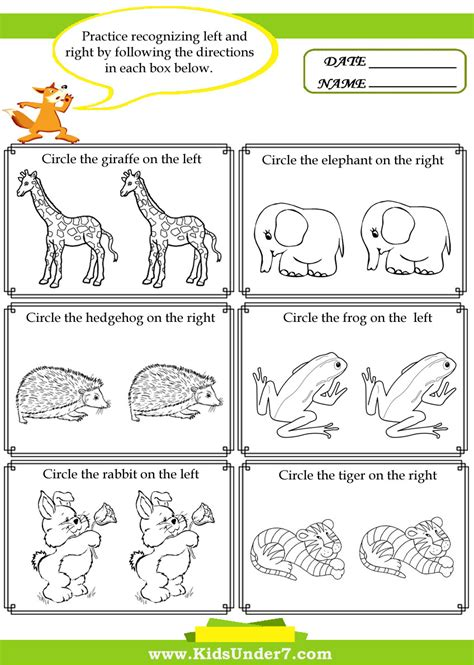 7 Activities For Children by Left And Right Worksheets Printable Activities For