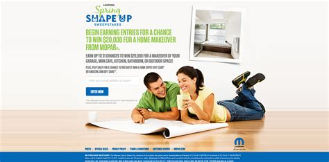 Shape Sweepstakes - moparspringshapeup com mopar has your chance to win 20 000 for a home makeover