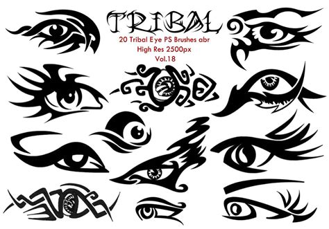 20 tribal eye ps brushes vol 18 free photoshop brushes