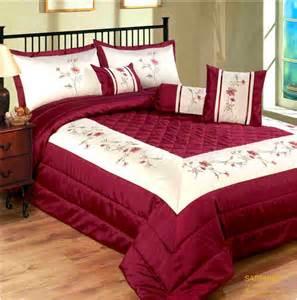 Burgundy amp cream elegant luxury embellished bedspread set
