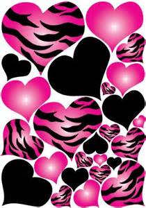 Wall decor hot pink radial zebra print and black hearts