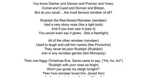 Rudolph The Nosed Reindeer Lyrics Like A Light Bulb