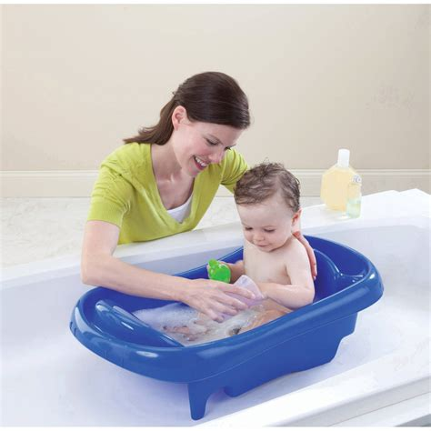 first years baby bathtub newborn to toddler tub blue infant baby bath with sling