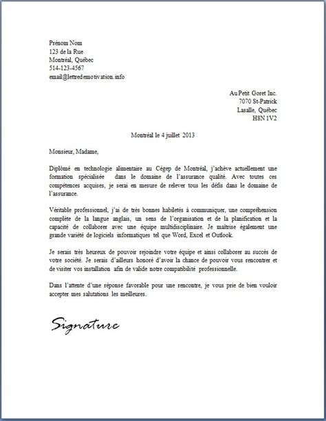 Exemple De Lettre De Motivation Réponse à Une Annonce Application Letter Sle Modele De Lettre De Motivation