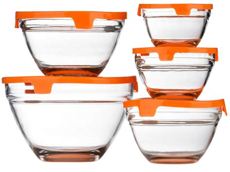 glass food storage containers with lids new set of 5 glass storage bowl set with lids food
