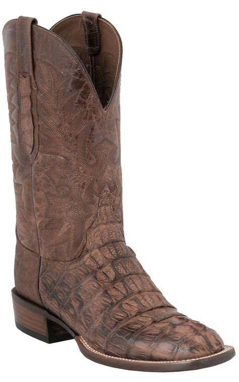 lucchese caiman square toe boots lucchese cowboy collection s brown caiman