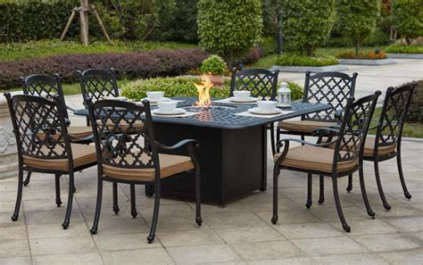 patio furniture set with pit table patio furniture dining set cast aluminum 64 quot square