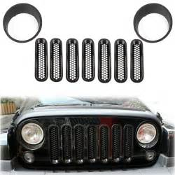Jeep Wrangler Grill Cover 9pcs Headlight Trim Front Mesh Grill Insert Grille Cover