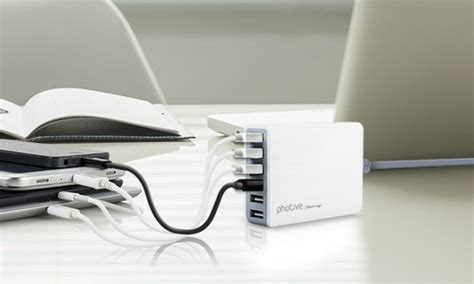 60 watt desk l photive 60 watt 6 port rapid usb desktop charger with auto