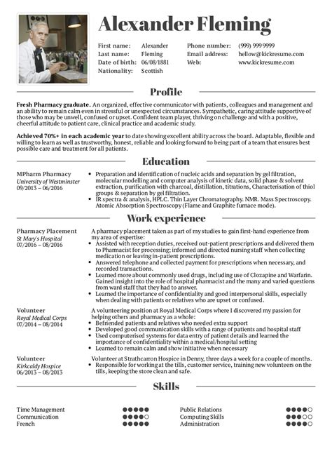 Pharmacist Resume Help by Student Resume Pharmacy Resume Sles Career Help Center