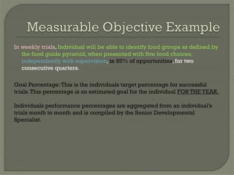 measurable goals and objectives template ppt center of foundation day habilitation