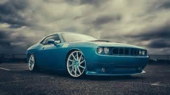 Blue Dodge Challenger Dodge Challenger Blue Front Car Vossen Wheels Doc