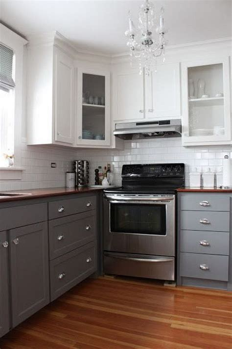 gray and white kitchen cabinets stylish two tone kitchen cabinets for your inspiration