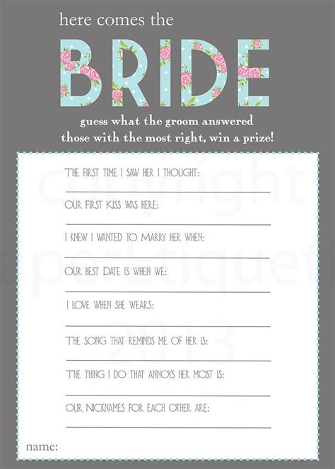 printable bridal shower questions 25 best ideas about bridal shower questions on pinterest