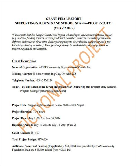 sle grant template grant reporting template 28 images best photos of
