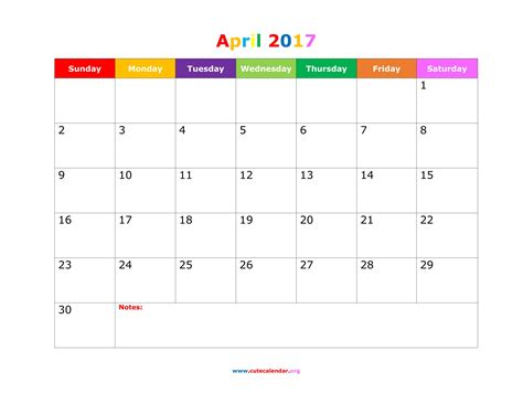 Cute Calendar 2017 Template april 2017 calendar weekly calendar template