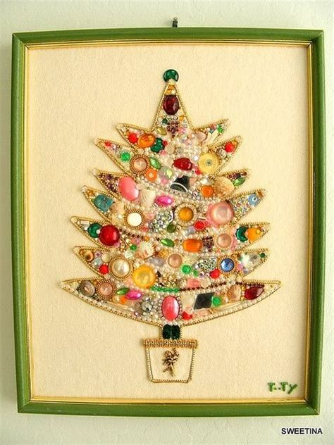 vintage tree pictures framed tree made with vintage costume jewelry