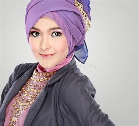 portrait  beautiful woman wearing hijab stock photo