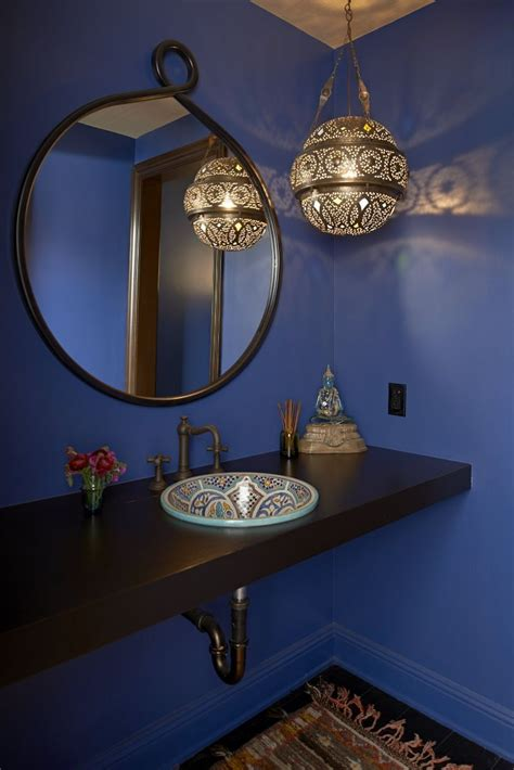 blue eclectic bathroom photos hgtv powder room with bright blue eclectic spanish style bathroom luxe bath