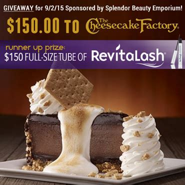 Cheesecake Factory Gift Card Cyber Monday - win cheesecake factory gift card or a tube of revitalash thrifty momma ramblings