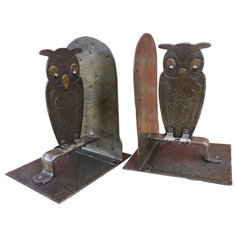 owl bookends vintage pair of hammered metal owl bookends by goberg hugo berger germany at 1stdibs