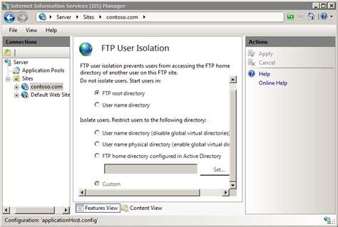 ftp default default ftp user isolation settings microsoft docs