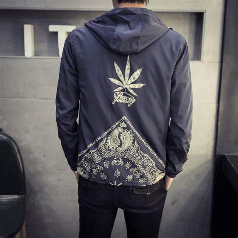 japan style jacket fashion 2017 new hooded windbreaker jacket stylish weeds print