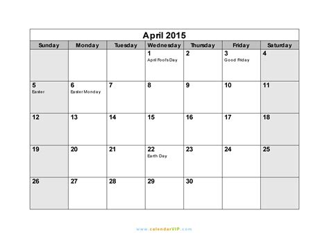 Calendar 2015 Printable April April 2015 Calendar Blank Printable Calendar Template In